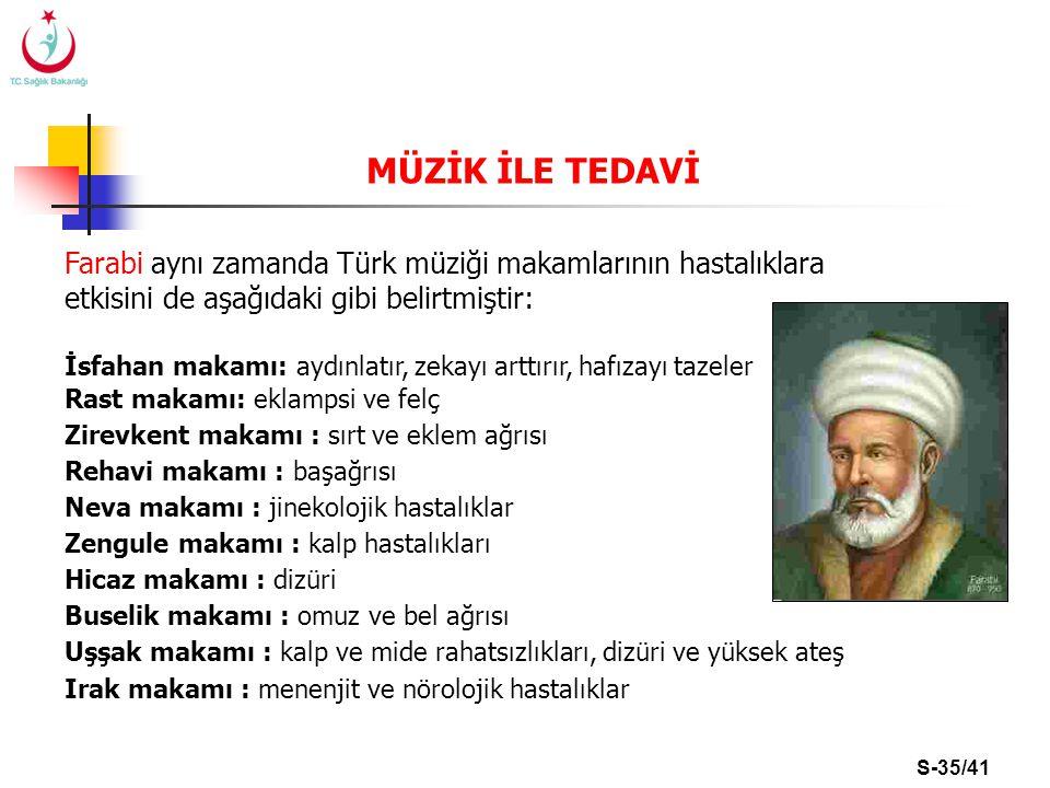 MÜZİK İLE TEDAVİ Farabi aynı zamanda Türk müziği makamlarının hastalıklara etkisini de aşağıdaki gibi belirtmiştir: