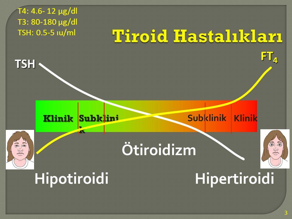 Tiroid Hastalıkları Hipotiroidi Hipertiroidi Ötiroidizm FT4 TSH Klinik