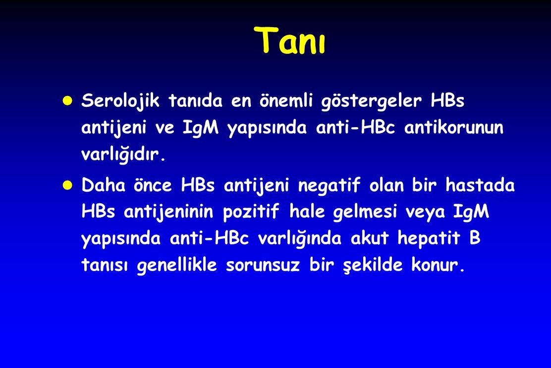 Tanı Serolojik tanıda en önemli göstergeler HBs antijeni ve IgM yapısında anti-HBc antikorunun varlığıdır.