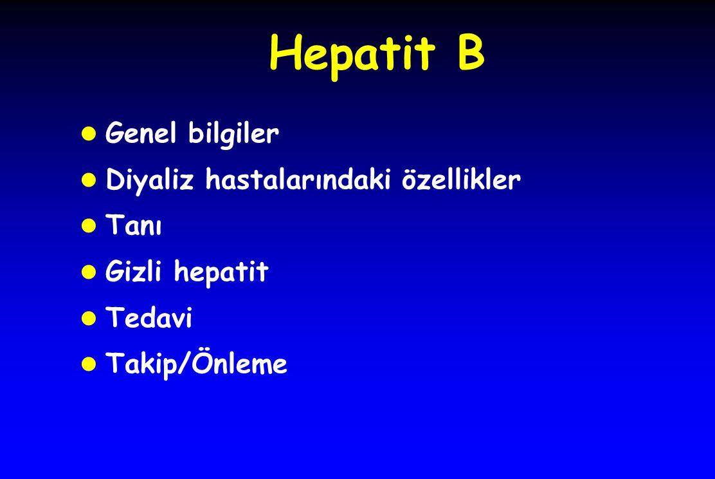 Hepatit B Genel bilgiler Diyaliz hastalarındaki özellikler Tanı