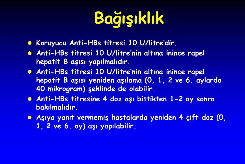 Bağışıklık Koruyucu Anti-HBs titresi 10 U/litre'dir.