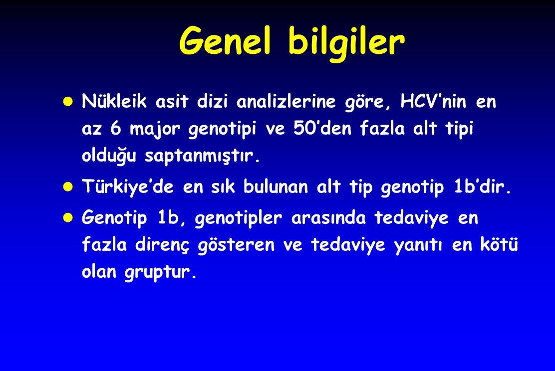 Genel bilgiler Nükleik asit dizi analizlerine göre, HCV'nin en az 6 major genotipi ve 50'den fazla alt tipi olduğu saptanmıştır.