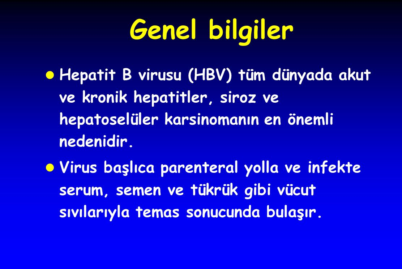 Genel bilgiler Hepatit B virusu (HBV) tüm dünyada akut ve kronik hepatitler, siroz ve hepatoselüler karsinomanın en önemli nedenidir.