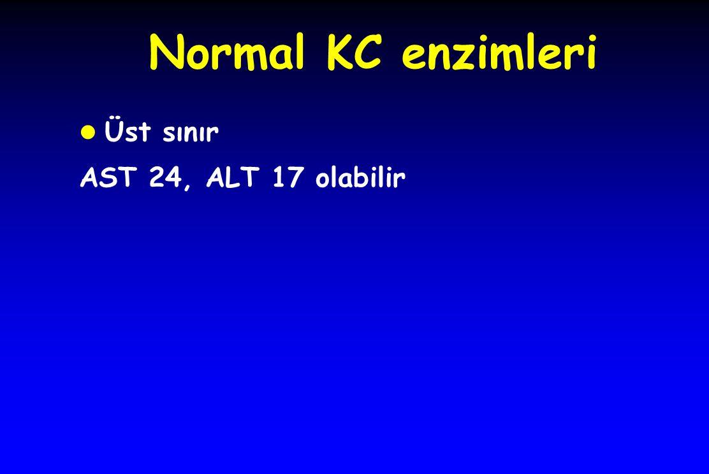 Normal KC enzimleri Üst sınır AST 24, ALT 17 olabilir