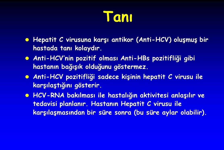 Tanı Hepatit C virusuna karşı antikor (Anti-HCV) oluşmuş bir hastada tanı kolaydır.