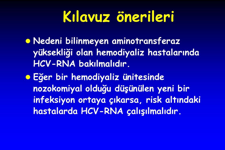 Kılavuz önerileri Nedeni bilinmeyen aminotransferaz yüksekliği olan hemodiyaliz hastalarında HCV-RNA bakılmalıdır.