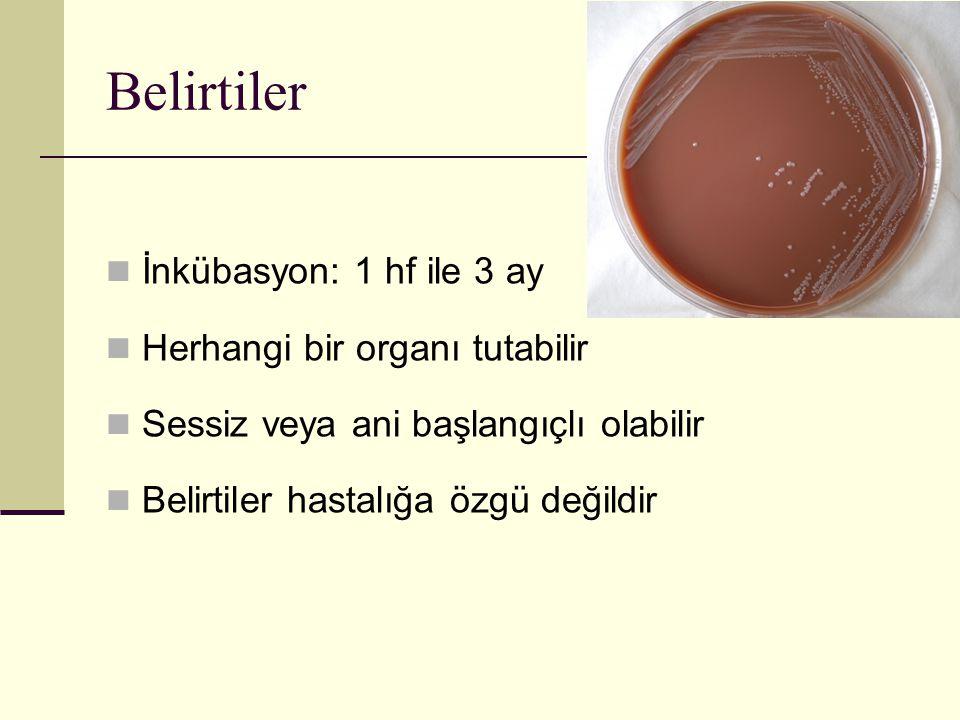 Belirtiler İnkübasyon: 1 hf ile 3 ay Herhangi bir organı tutabilir