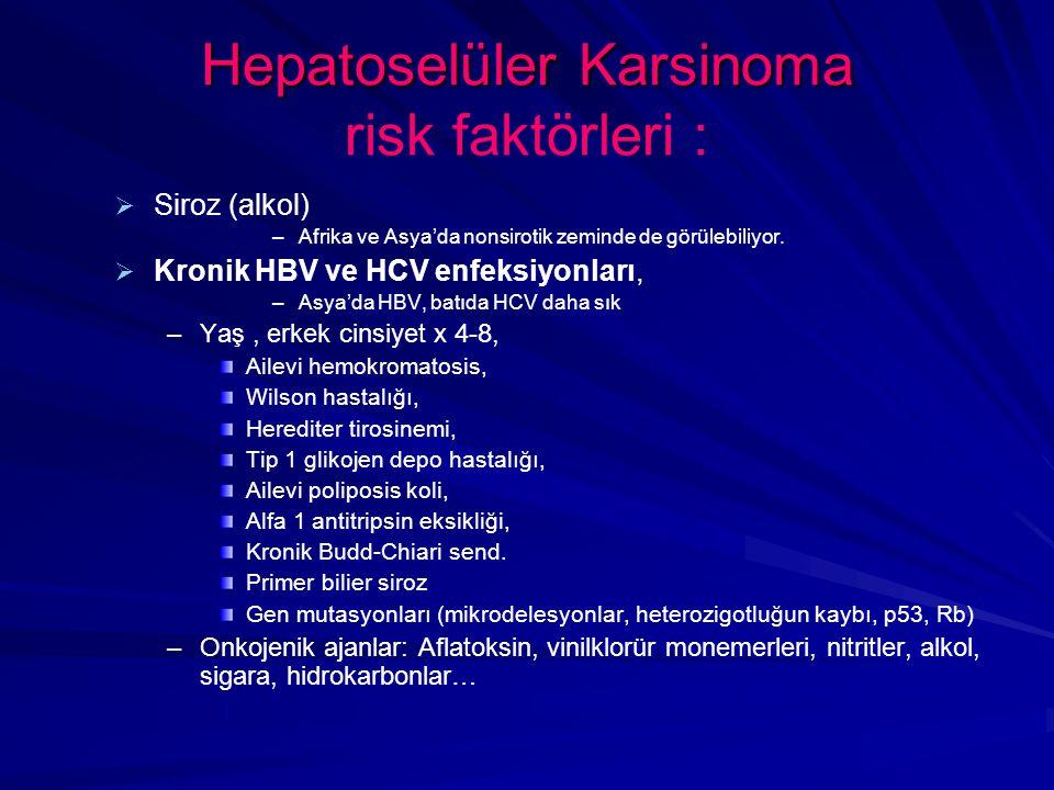 Hepatoselüler Karsinoma risk faktörleri :