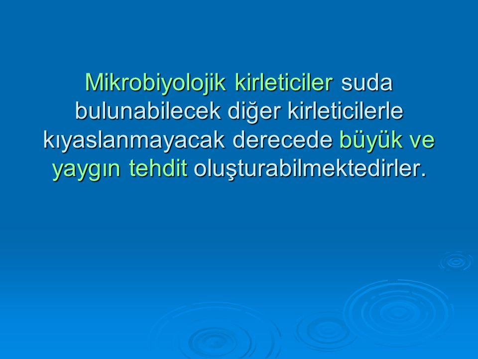 Mikrobiyolojik kirleticiler suda bulunabilecek diğer kirleticilerle kıyaslanmayacak derecede büyük ve yaygın tehdit oluşturabilmektedirler.
