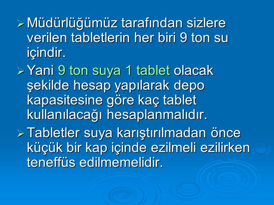 Müdürlüğümüz tarafından sizlere verilen tabletlerin her biri 9 ton su içindir.