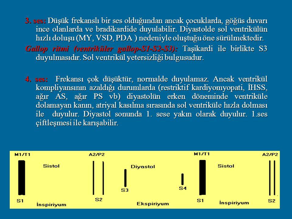 3. ses: Düşük frekanslı bir ses olduğundan ancak çocuklarda, göğüs duvarı ince olanlarda ve bradikardide duyulabilir. Diyastolde sol ventrikülün hızlı doluşu (MY, VSD, PDA ) nedeniyle oluştuğu öne sürülmektedir.