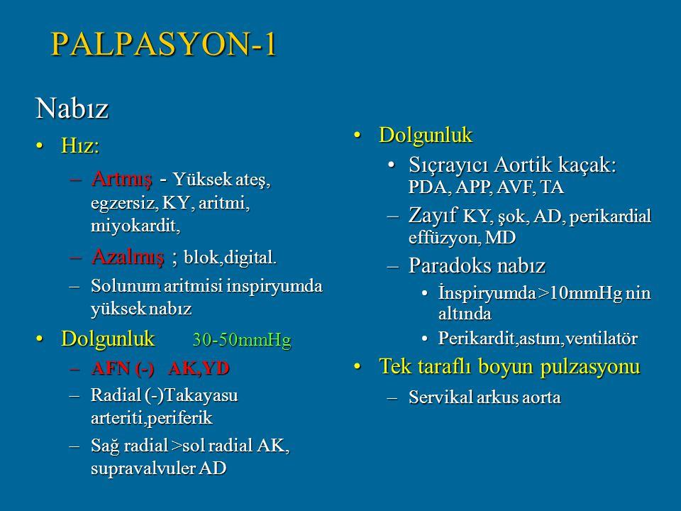 PALPASYON-1 Nabız. Hız: Artmış - Yüksek ateş, egzersiz, KY, aritmi, miyokardit, Azalmış ; blok,digital.