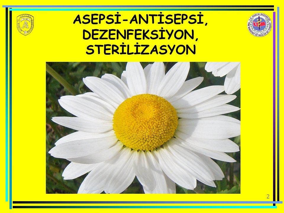 ASEPSİ-ANTİSEPSİ, DEZENFEKSİYON, STERİLİZASYON