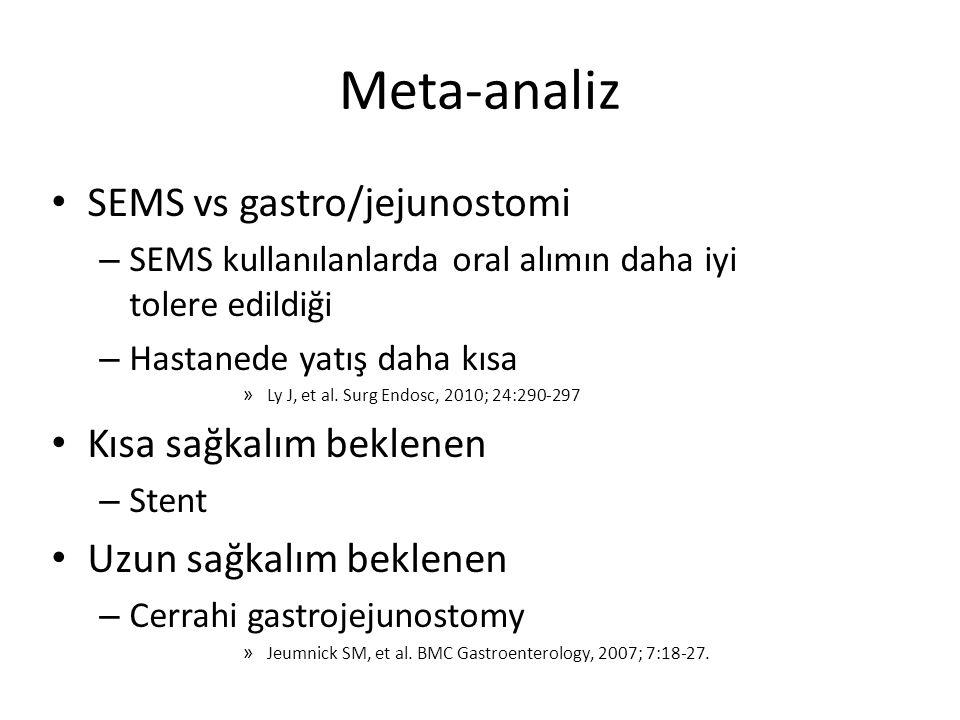 Meta-analiz SEMS vs gastro/jejunostomi Kısa sağkalım beklenen