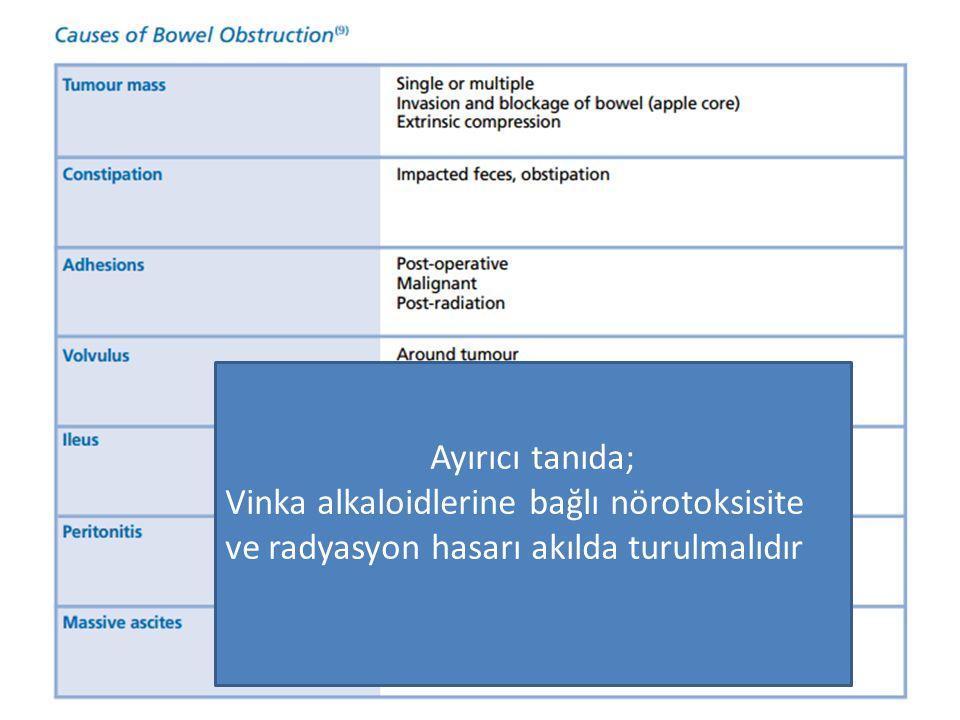 Ayırıcı tanıda; Vinka alkaloidlerine bağlı nörotoksisite ve radyasyon hasarı akılda turulmalıdır