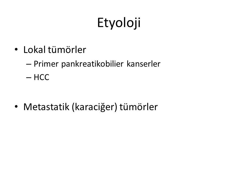 Etyoloji Lokal tümörler Metastatik (karaciğer) tümörler