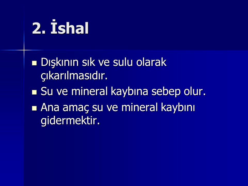 2. İshal Dışkının sık ve sulu olarak çıkarılmasıdır.