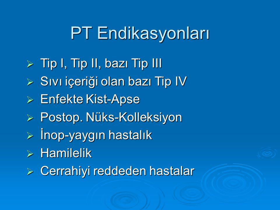 PT Endikasyonları Tip I, Tip II, bazı Tip III