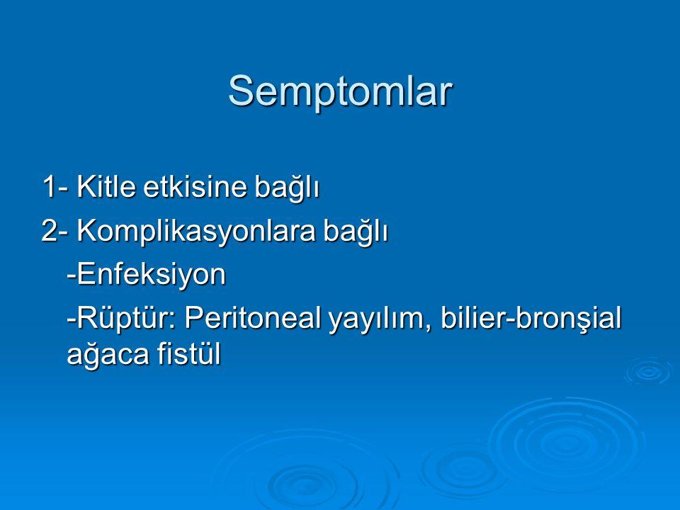 Semptomlar 1- Kitle etkisine bağlı 2- Komplikasyonlara bağlı