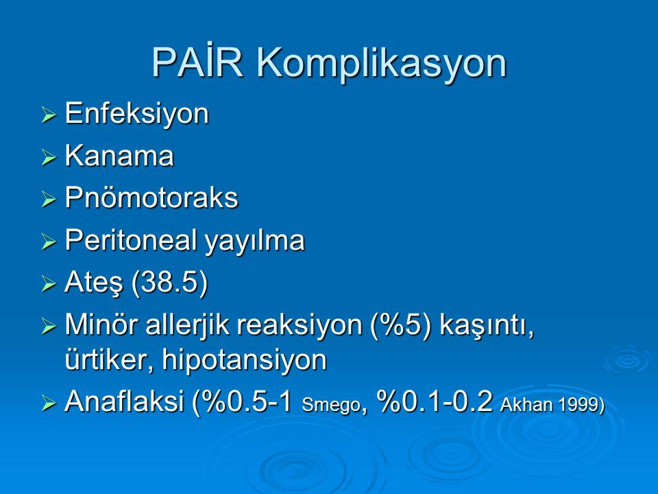 PAİR Komplikasyon Enfeksiyon Kanama Pnömotoraks Peritoneal yayılma
