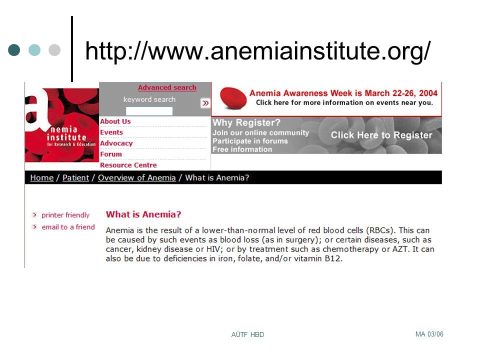 http://www.anemiainstitute.org/ AÜTF HBD MA 03/06
