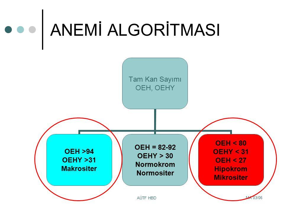 ANEMİ ALGORİTMASI AÜTF HBD MA 03/06
