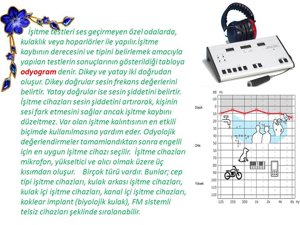 İşitme testleri ses geçirmeyen özel odalarda, kulaklık veya hoparlörler ile yapılır.İşitme kaybının derecesini ve tipini belirlemek amacıyla yapılan testlerin sonuçlarının gösterildiği tabloya odyogram denir.