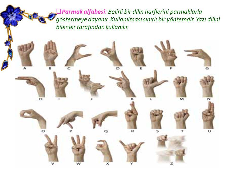 Parmak alfabesi: Belirli bir dilin harflerini parmaklarla göstermeye dayanır.