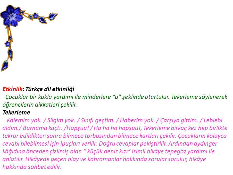 Etkinlik: Türkçe dil etkinliği