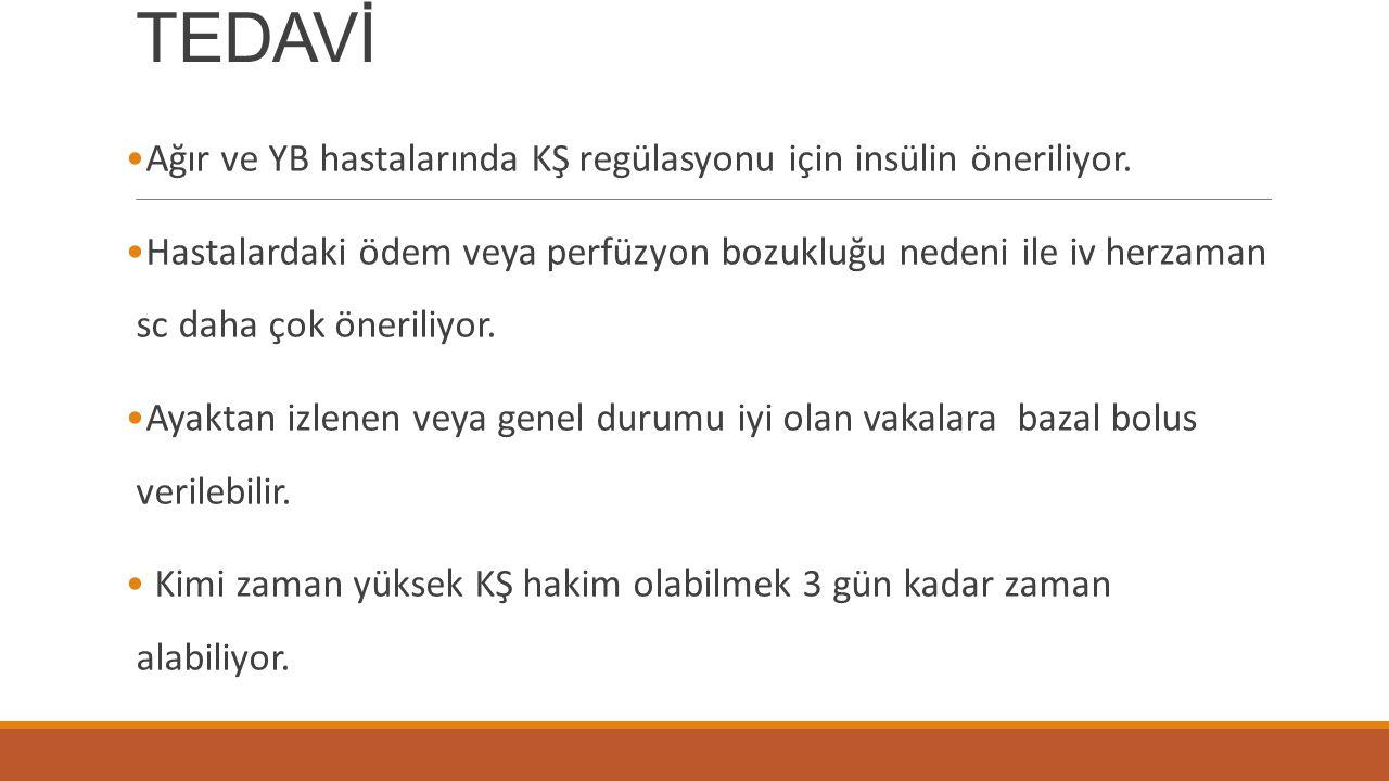 TEDAVİ Ağır ve YB hastalarında KŞ regülasyonu için insülin öneriliyor.