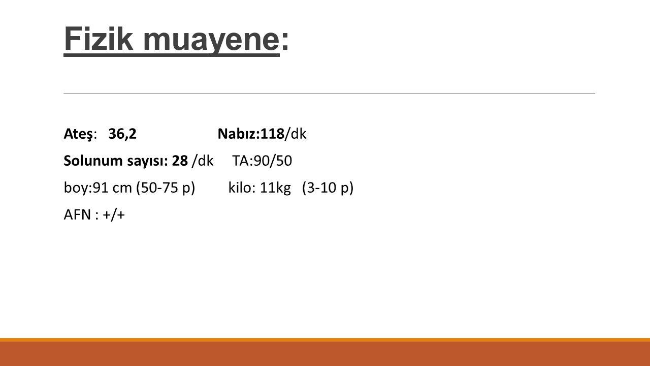 Fizik muayene: Ateş: 36,2 Nabız:118/dk Solunum sayısı: 28 /dk TA:90/50