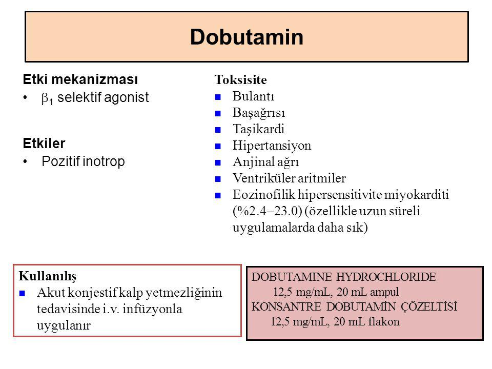 Dobutamin Toksisite Etki mekanizması b1 selektif agonist Bulantı