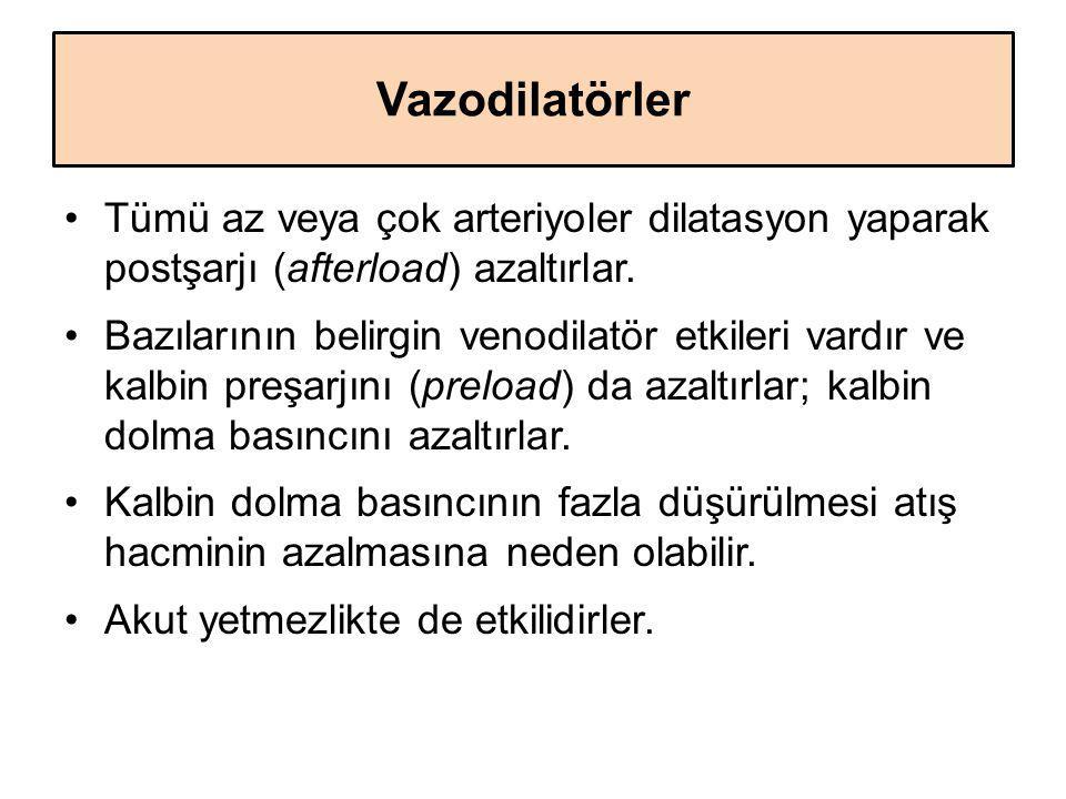 Vazodilatörler Tümü az veya çok arteriyoler dilatasyon yaparak postşarjı (afterload) azaltırlar.