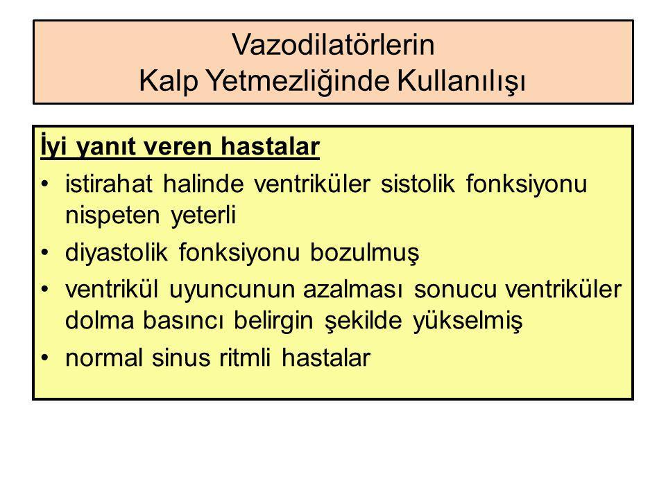 Vazodilatörlerin Kalp Yetmezliğinde Kullanılışı