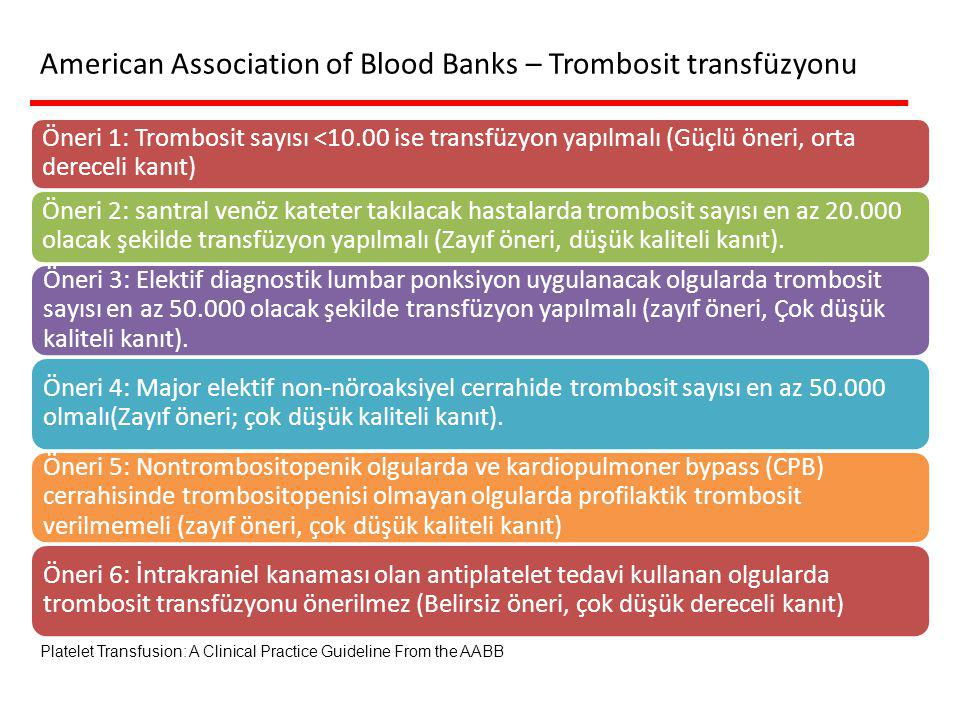 American Association of Blood Banks – Trombosit transfüzyonu