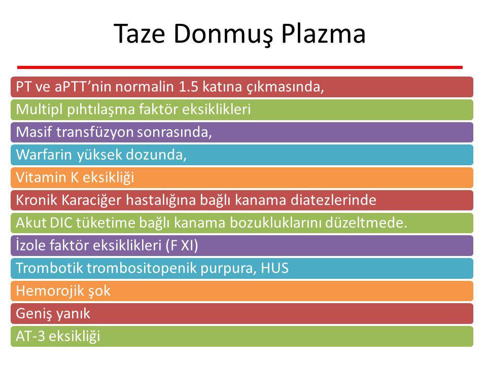 Taze Donmuş Plazma PT ve aPTT'nin normalin 1.5 katına çıkmasında,