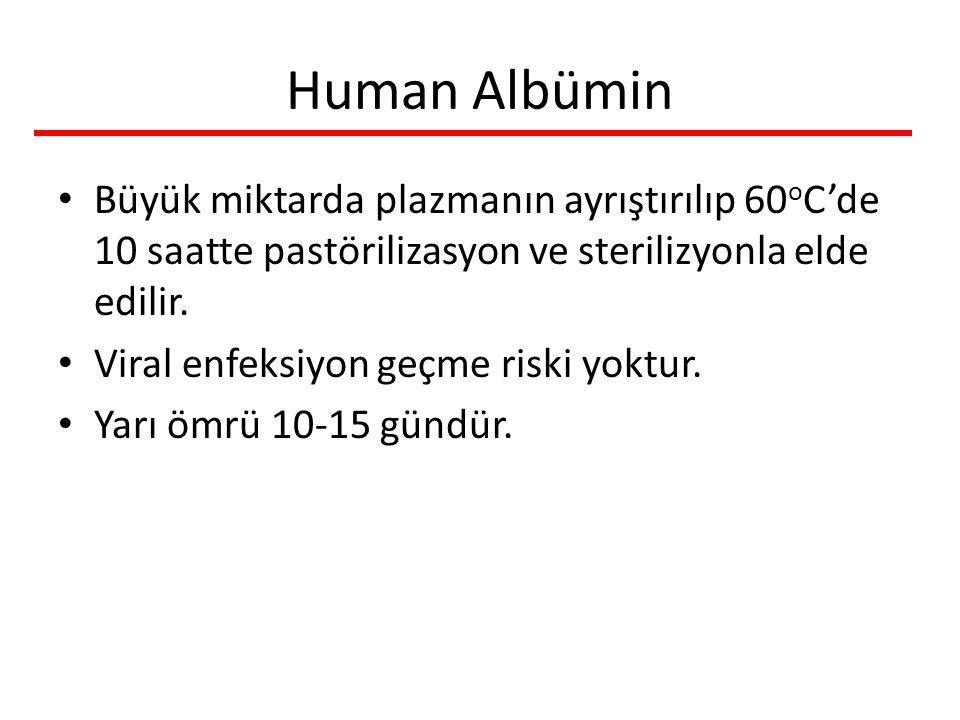 Human Albümin Büyük miktarda plazmanın ayrıştırılıp 60oC'de 10 saatte pastörilizasyon ve sterilizyonla elde edilir.
