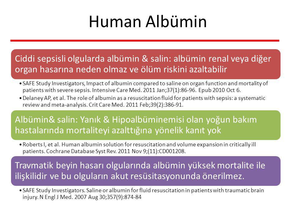 Human Albümin Ciddi sepsisli olgularda albümin & salin: albümin renal veya diğer organ hasarına neden olmaz ve ölüm riskini azaltabilir.