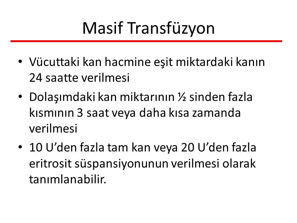 Masif Transfüzyon Vücuttaki kan hacmine eşit miktardaki kanın 24 saatte verilmesi.