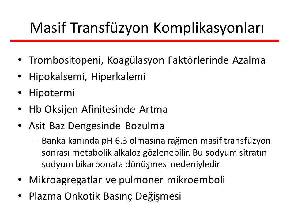 Masif Transfüzyon Komplikasyonları