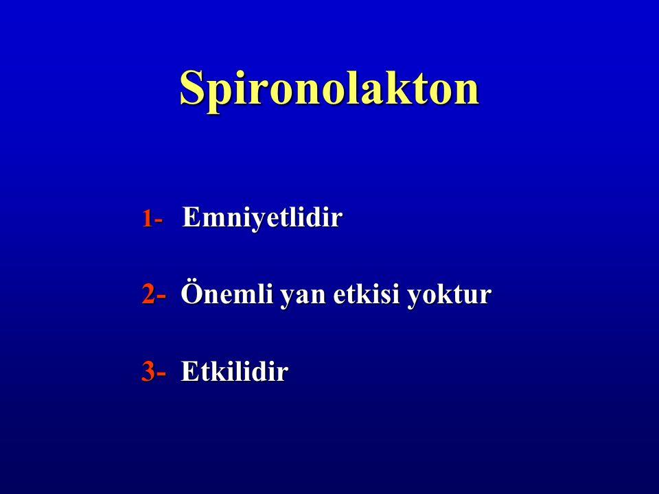 Spironolakton 1- Emniyetlidir 2- Önemli yan etkisi yoktur 3- Etkilidir