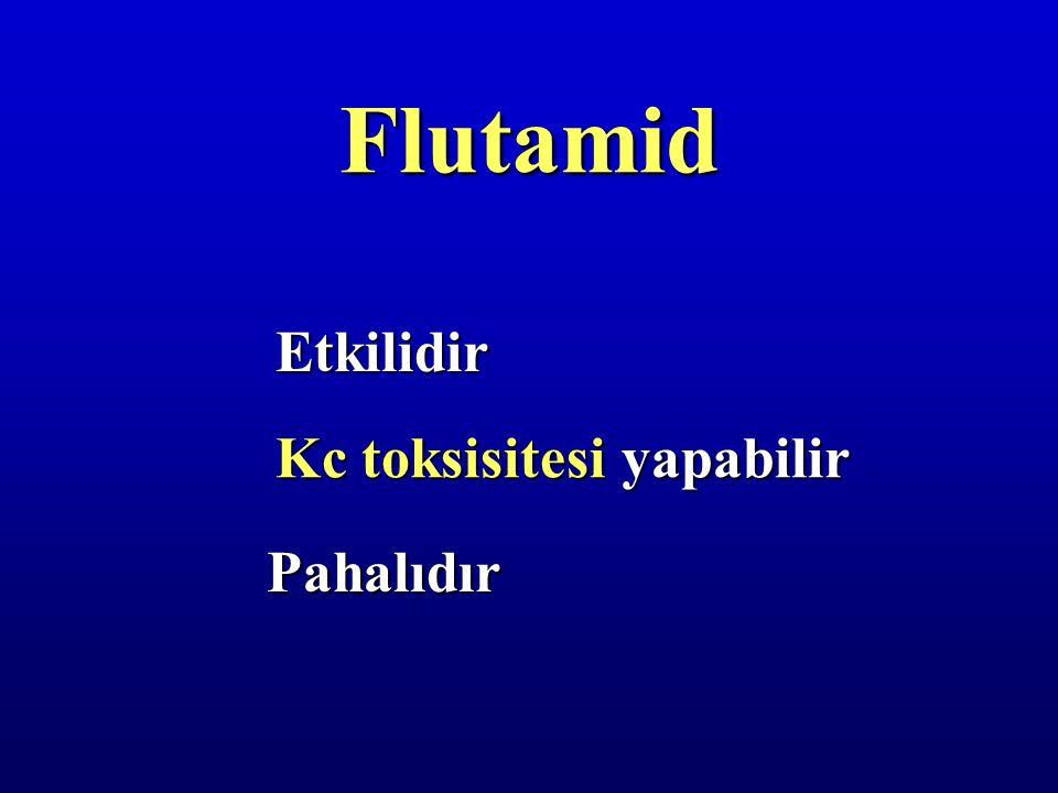 Flutamid Etkilidir Kc toksisitesi yapabilir Pahalıdır