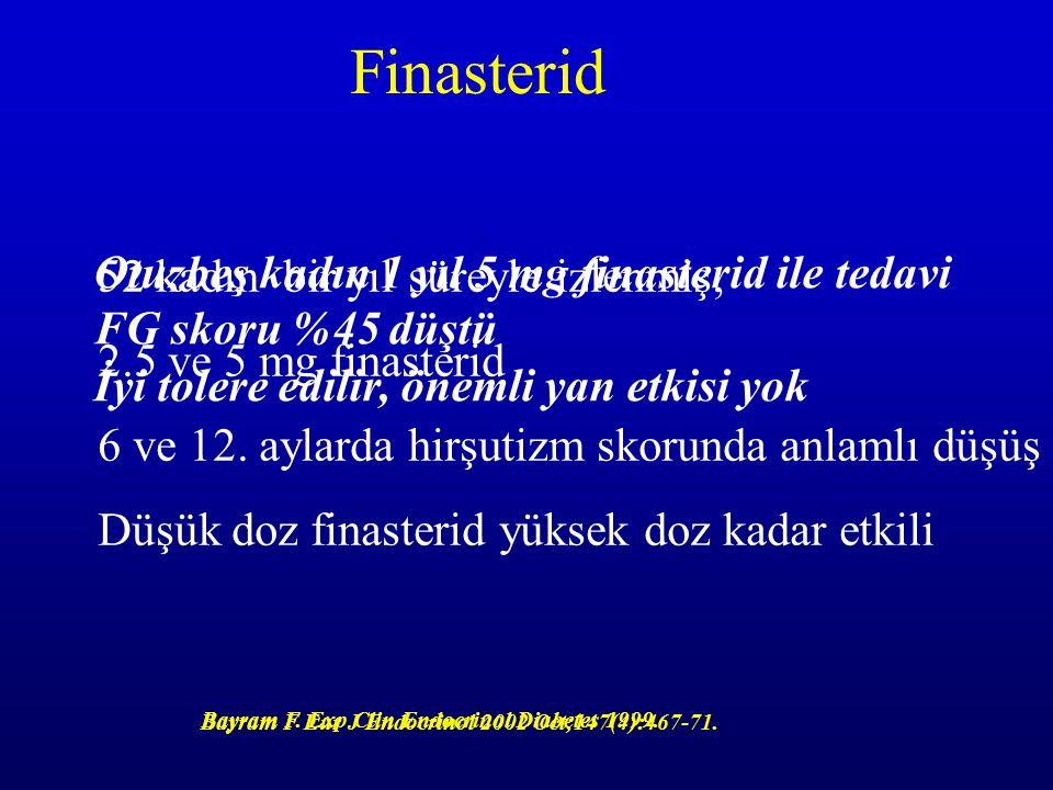 Finasterid Otuzbeş kadın 1 yıl 5 mg finasterid ile tedavi