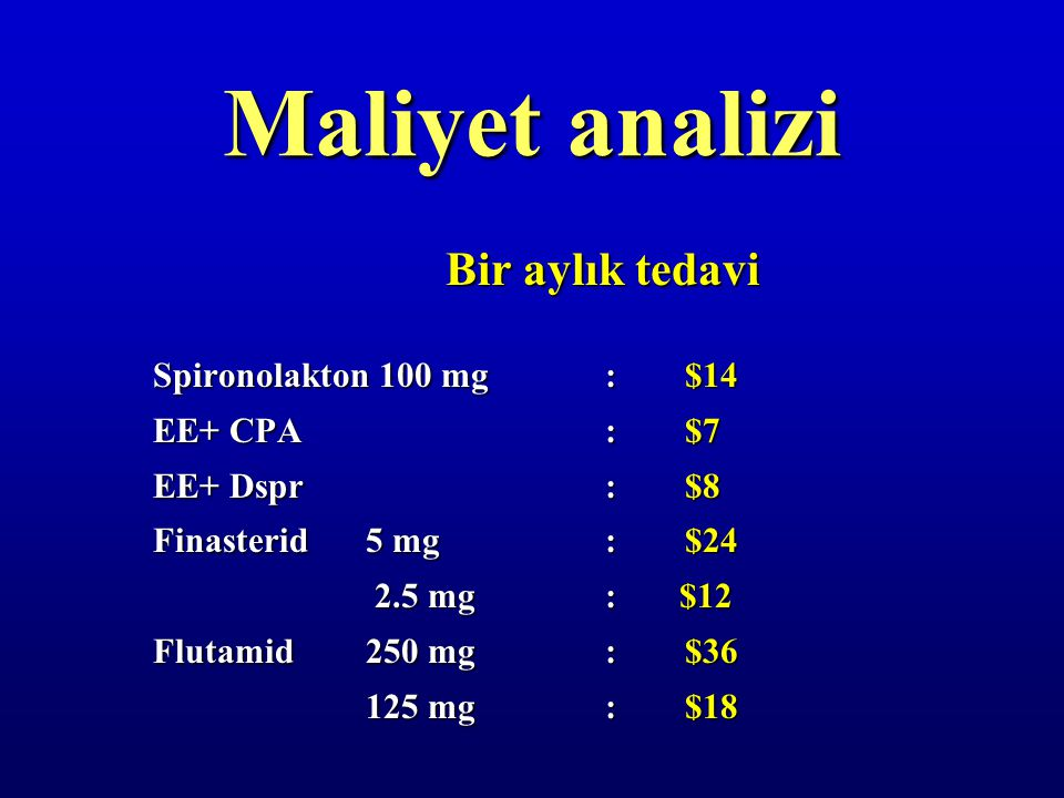 Maliyet analizi Bir aylık tedavi Spironolakton 100 mg : $14