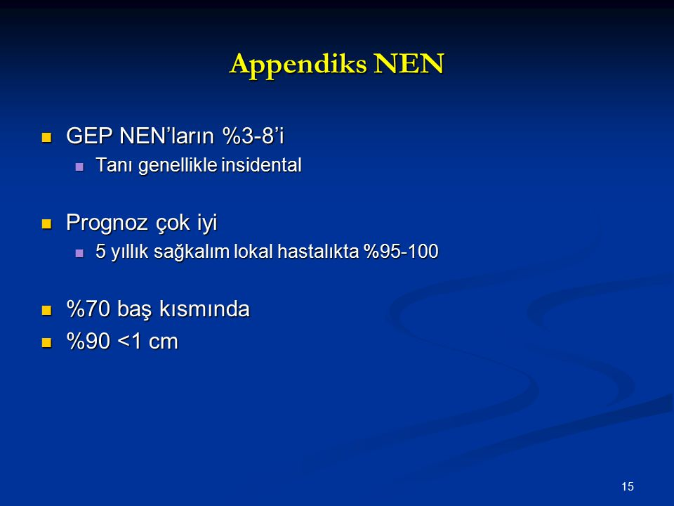 Appendiks NEN GEP NEN'ların %3-8'i Prognoz çok iyi %70 baş kısmında
