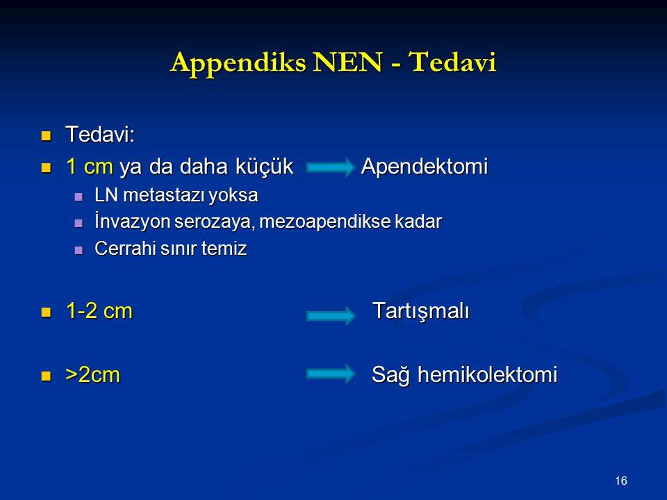 Appendiks NEN - Tedavi Tedavi: 1 cm ya da daha küçük Apendektomi
