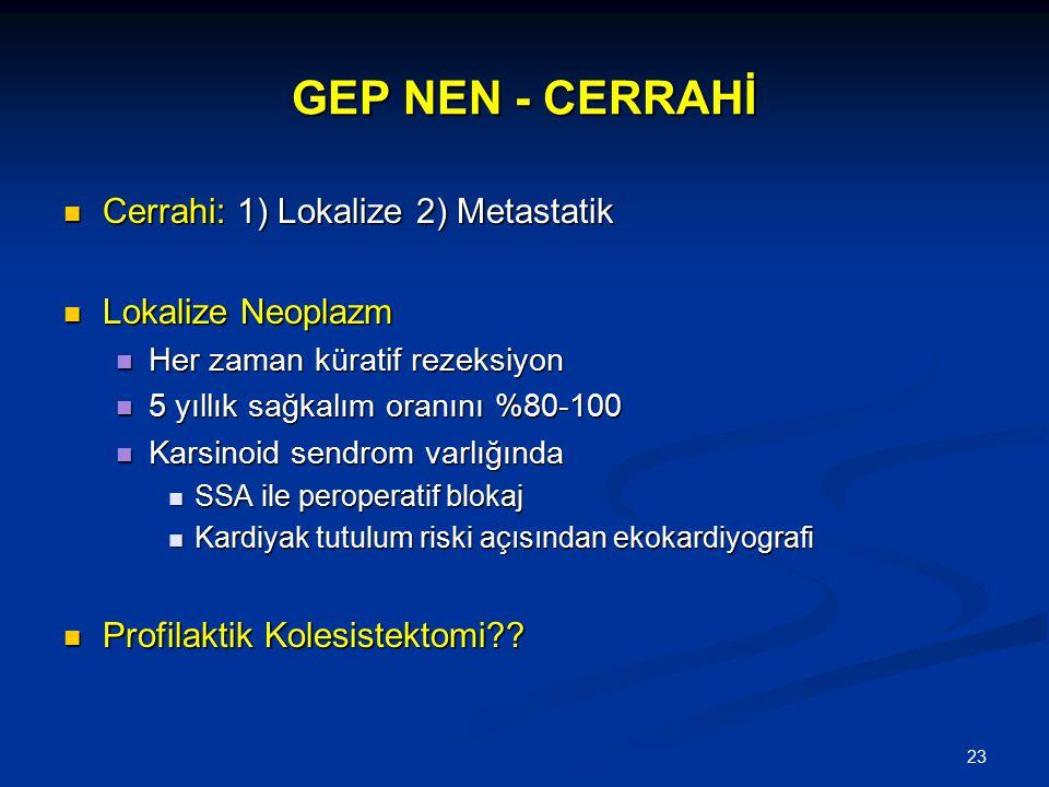 GEP NEN - CERRAHİ Cerrahi: 1) Lokalize 2) Metastatik Lokalize Neoplazm