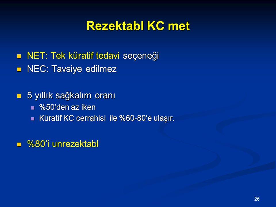 Rezektabl KC met NET: Tek küratif tedavi seçeneği NEC: Tavsiye edilmez