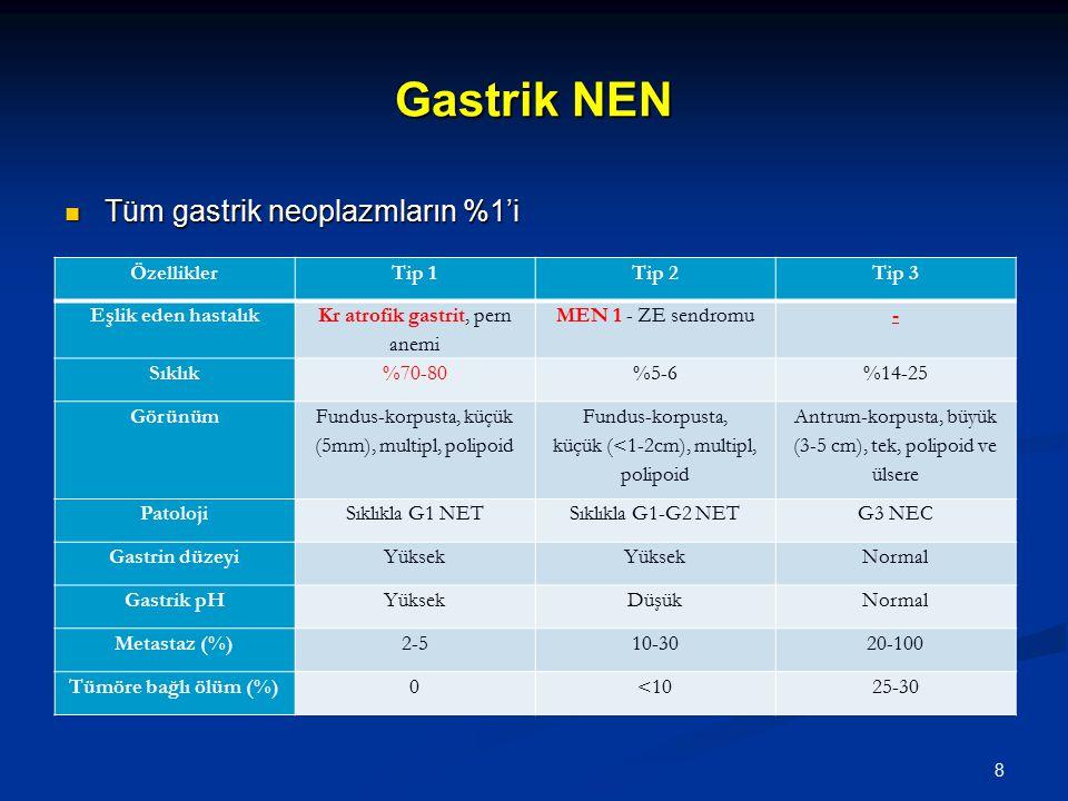 Gastrik NEN Tüm gastrik neoplazmların %1'i Özellikler Tip 1 Tip 2