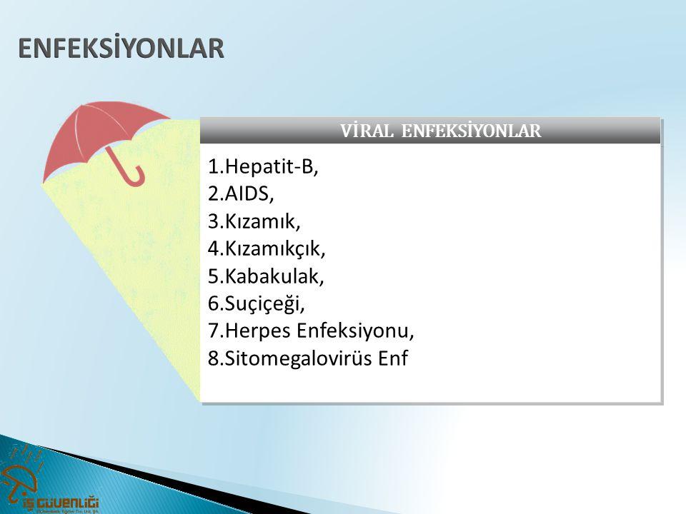 ENFEKSİYONLAR Hepatit-B, AIDS, Kızamık, Kızamıkçık, Kabakulak,